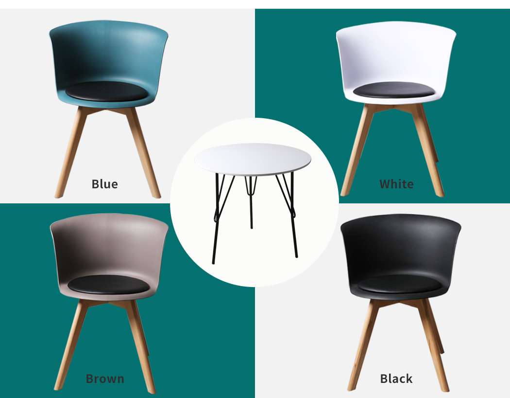 thumbnail 120 - Dining Table Chairs Set Round Café Kitchen Office Meeting Wooden Leg Modern Seat
