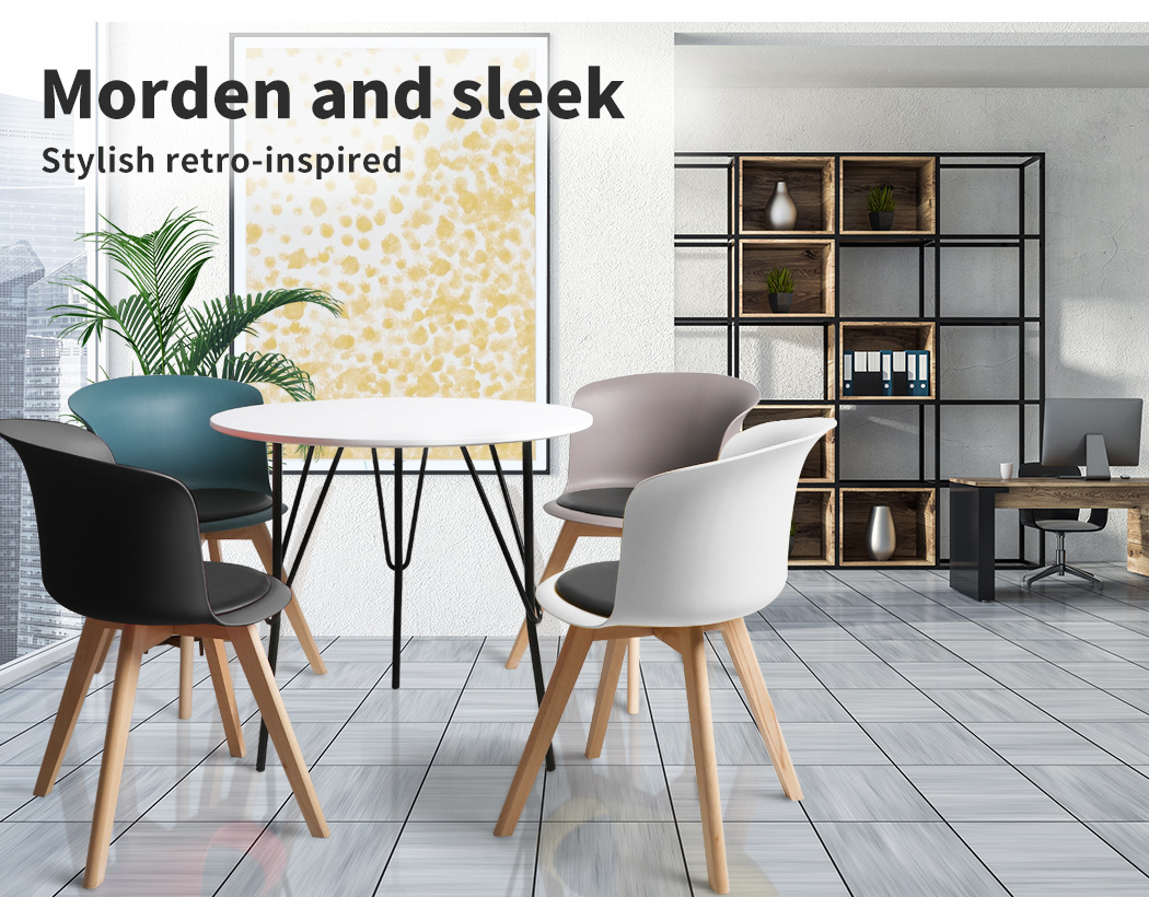 thumbnail 121 - Dining Table Chairs Set Round Café Kitchen Office Meeting Wooden Leg Modern Seat