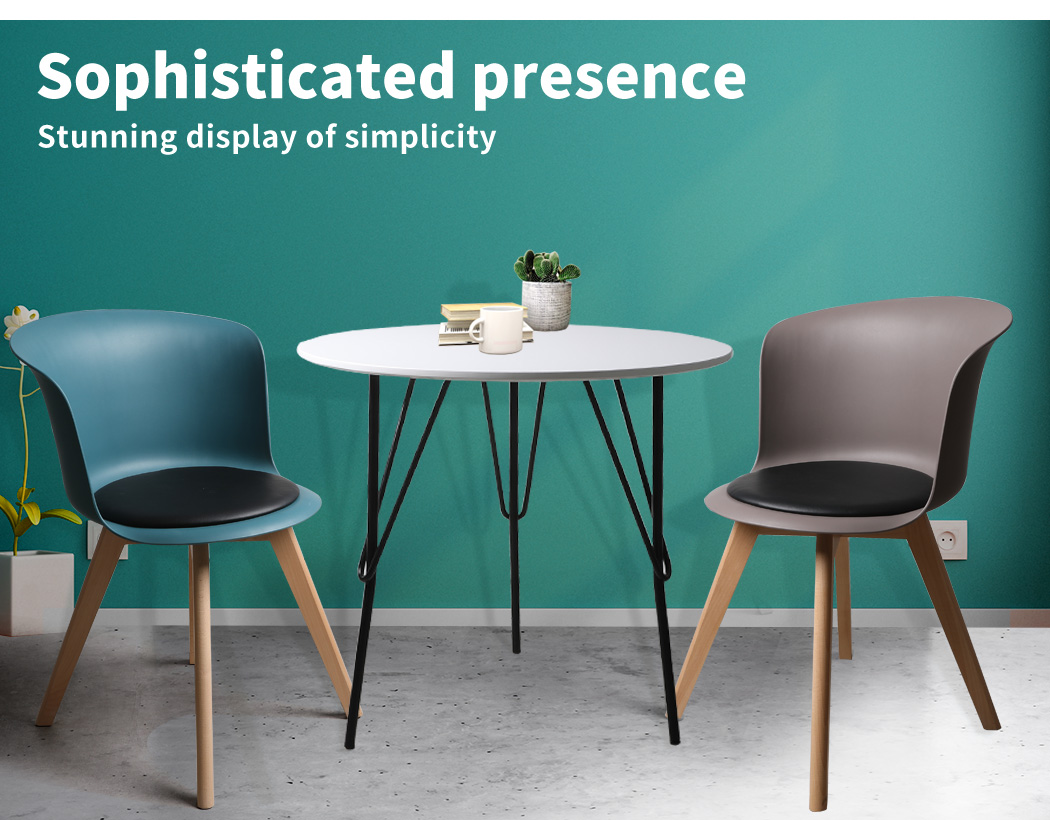 thumbnail 122 - Dining Table Chairs Set Round Café Kitchen Office Meeting Wooden Leg Modern Seat