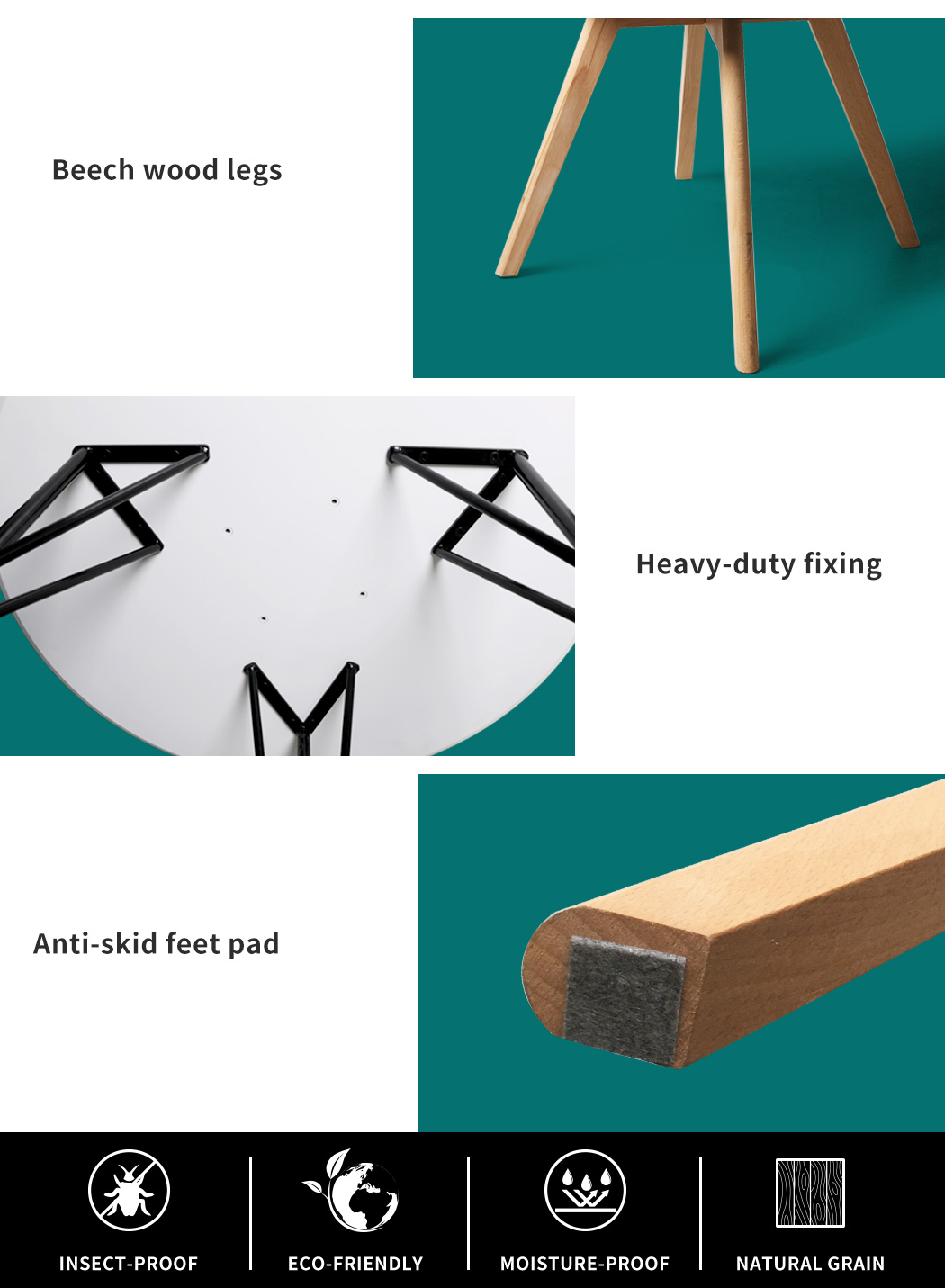 thumbnail 125 - Dining Table Chairs Set Round Café Kitchen Office Meeting Wooden Leg Modern Seat