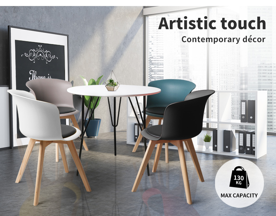 thumbnail 126 - Dining Table Chairs Set Round Café Kitchen Office Meeting Wooden Leg Modern Seat
