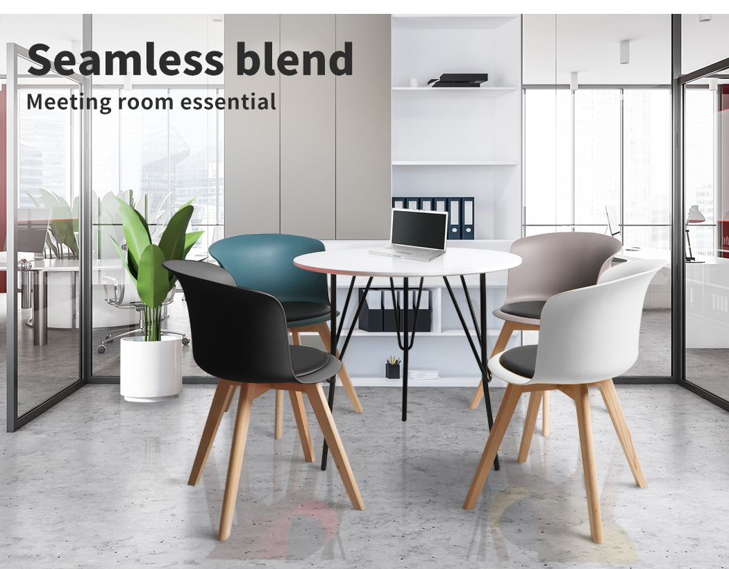 thumbnail 127 - Dining Table Chairs Set Round Café Kitchen Office Meeting Wooden Leg Modern Seat