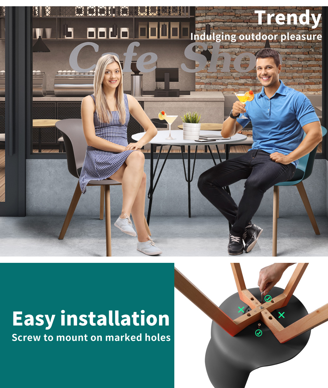 thumbnail 128 - Dining Table Chairs Set Round Café Kitchen Office Meeting Wooden Leg Modern Seat
