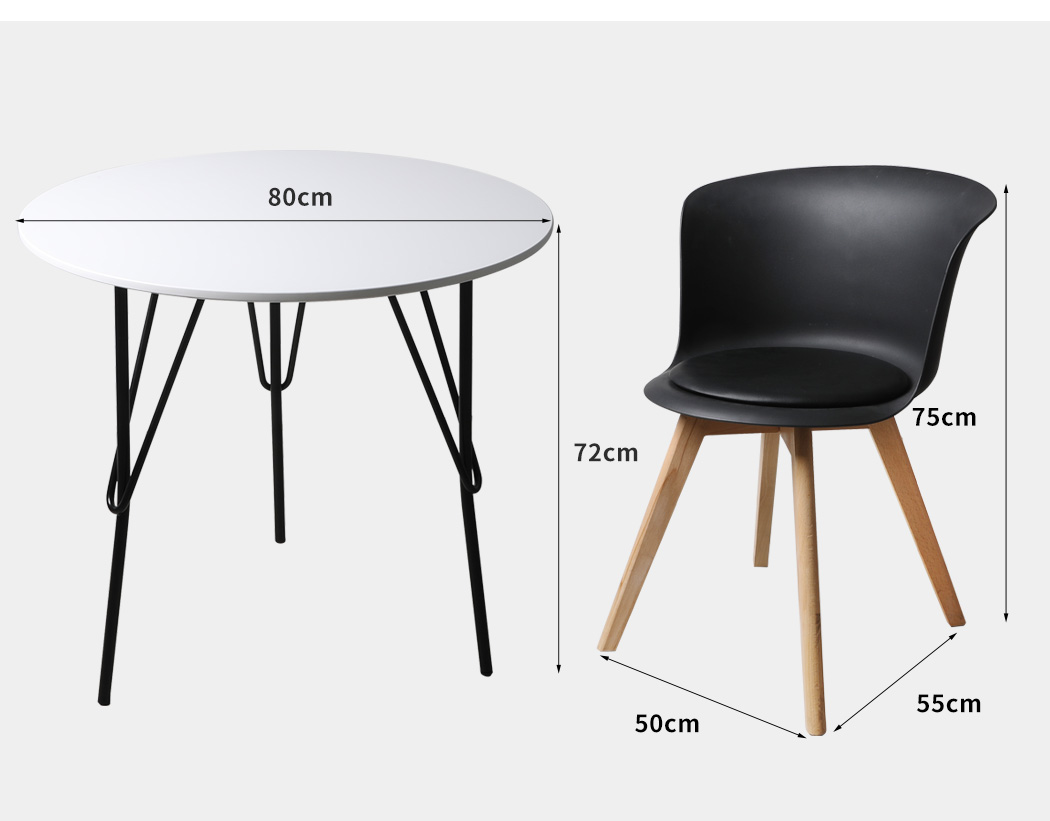 thumbnail 129 - Dining Table Chairs Set Round Café Kitchen Office Meeting Wooden Leg Modern Seat