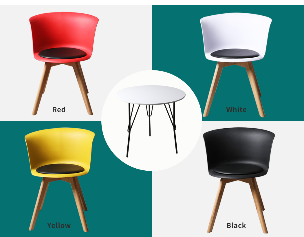 thumbnail 132 - Dining Table Chairs Set Round Café Kitchen Office Meeting Wooden Leg Modern Seat