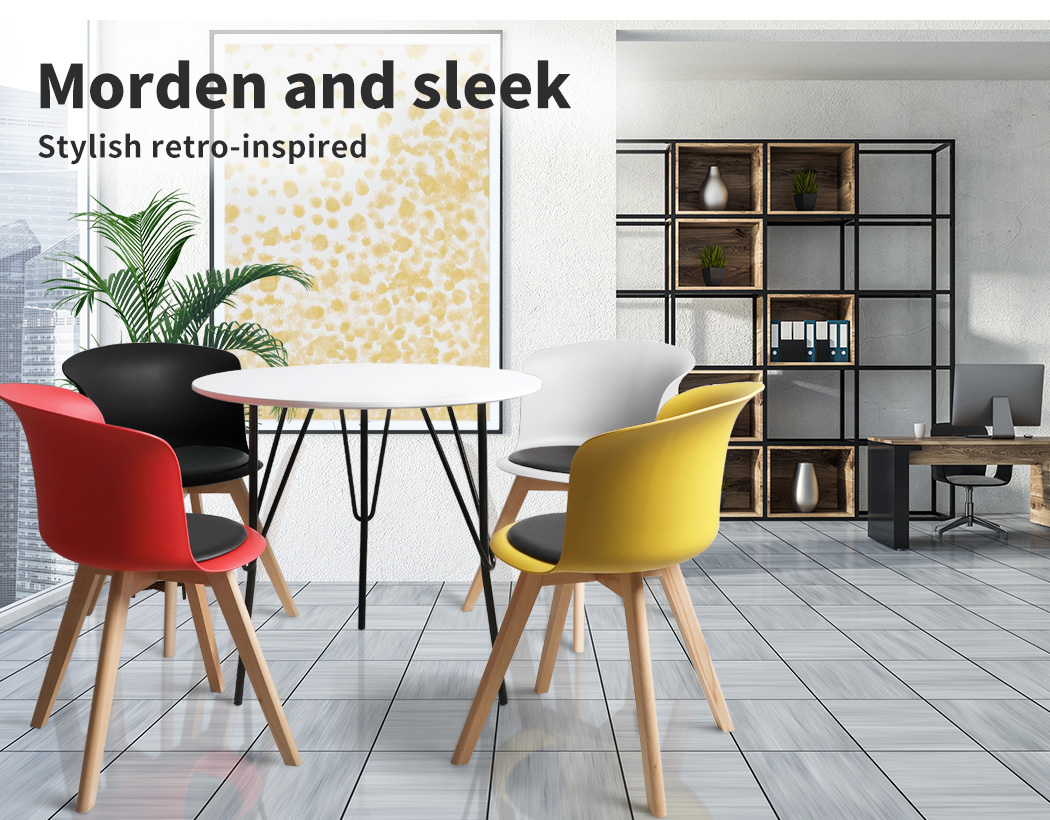 thumbnail 133 - Dining Table Chairs Set Round Café Kitchen Office Meeting Wooden Leg Modern Seat