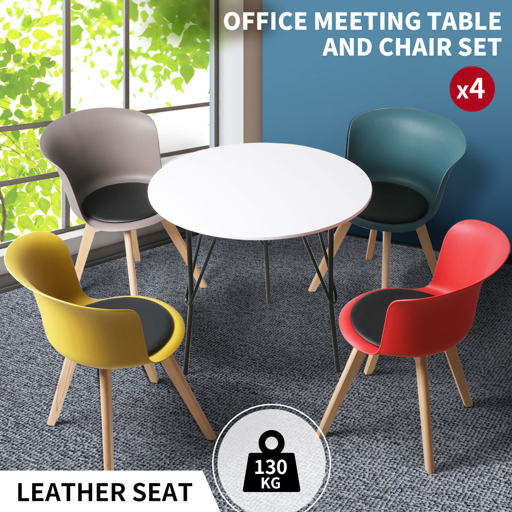 thumbnail 118 - Dining Table Chairs Set Round Café Kitchen Office Meeting Wooden Leg Modern Seat