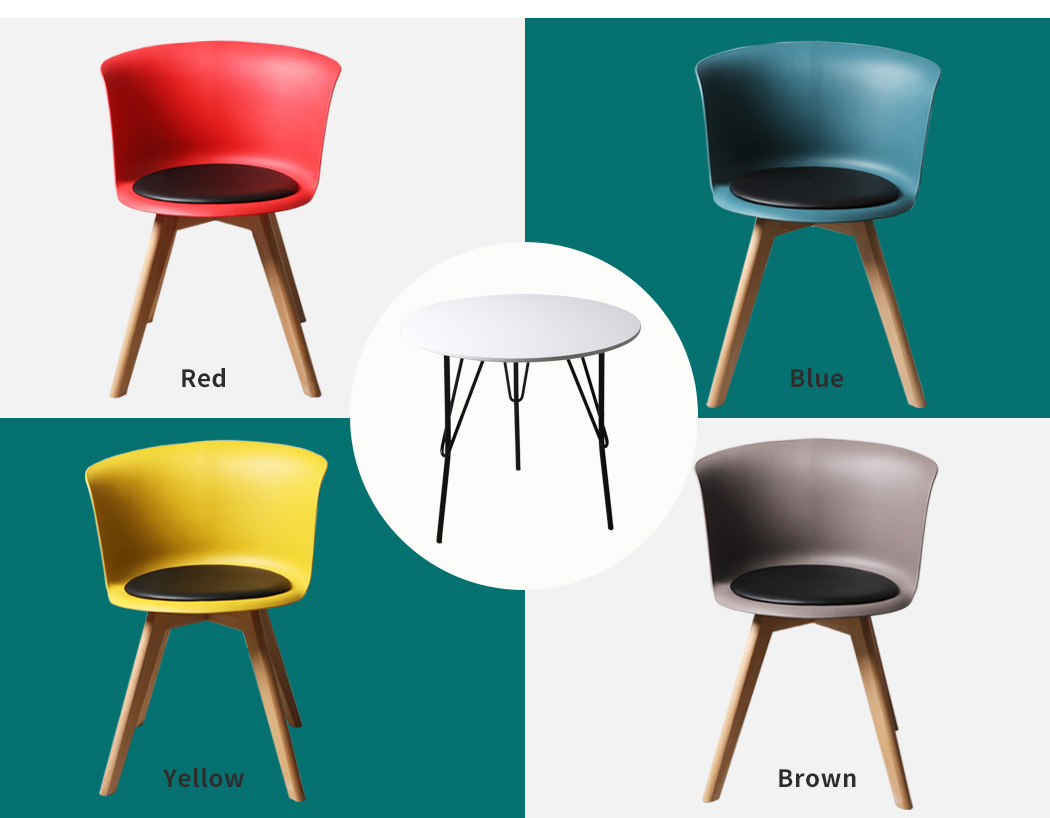 thumbnail 108 - Dining Table Chairs Set Round Café Kitchen Office Meeting Wooden Leg Modern Seat