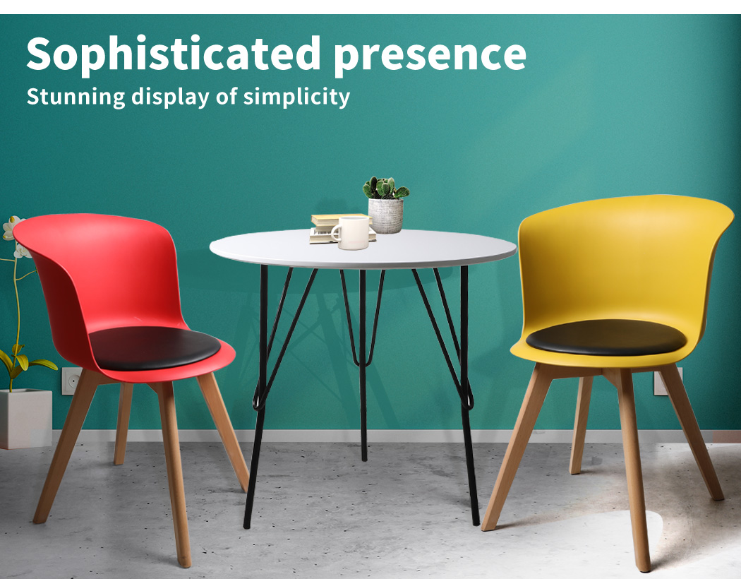thumbnail 110 - Dining Table Chairs Set Round Café Kitchen Office Meeting Wooden Leg Modern Seat