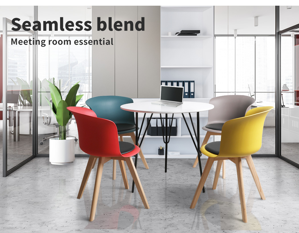thumbnail 115 - Dining Table Chairs Set Round Café Kitchen Office Meeting Wooden Leg Modern Seat