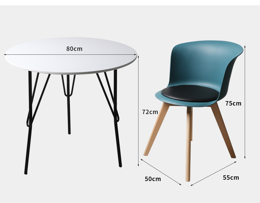 thumbnail 117 - Dining Table Chairs Set Round Café Kitchen Office Meeting Wooden Leg Modern Seat