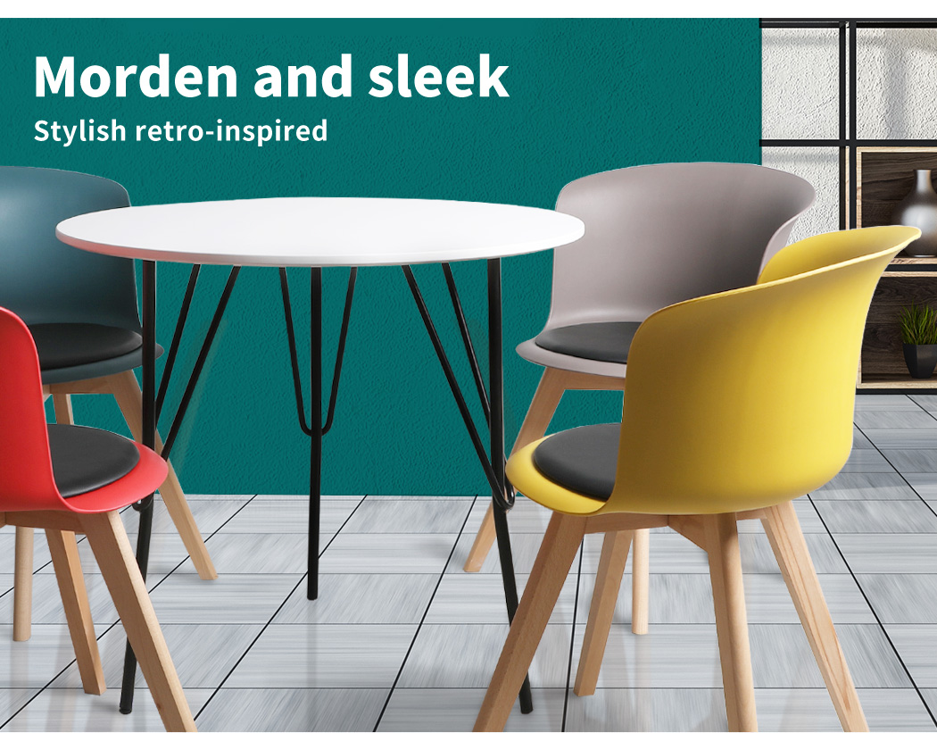 thumbnail 97 - Dining Table Chairs Set Round Café Kitchen Office Meeting Wooden Leg Modern Seat