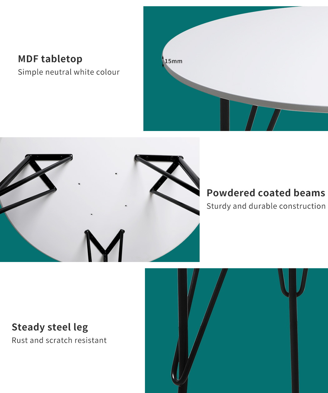 thumbnail 101 - Dining Table Chairs Set Round Café Kitchen Office Meeting Wooden Leg Modern Seat