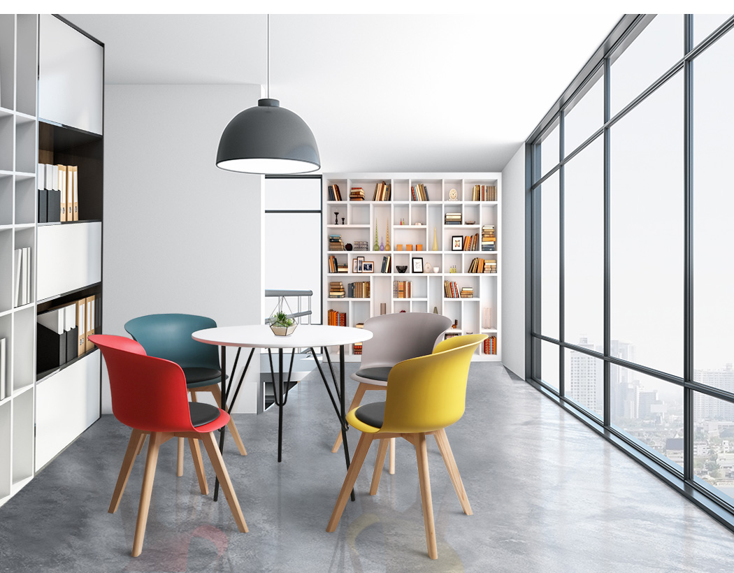 thumbnail 105 - Dining Table Chairs Set Round Café Kitchen Office Meeting Wooden Leg Modern Seat