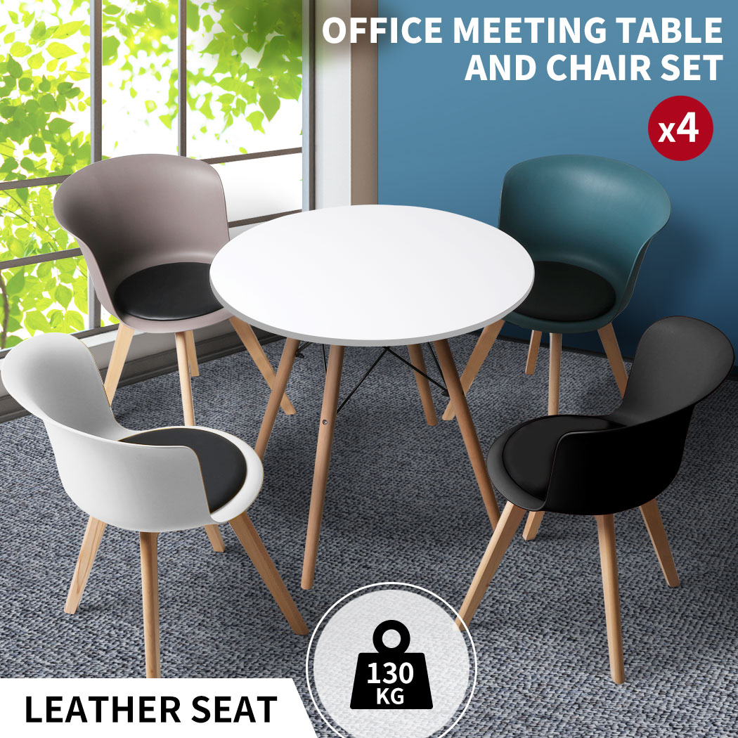 thumbnail 83 - Dining Table Chairs Set Round Café Kitchen Office Meeting Wooden Leg Modern Seat