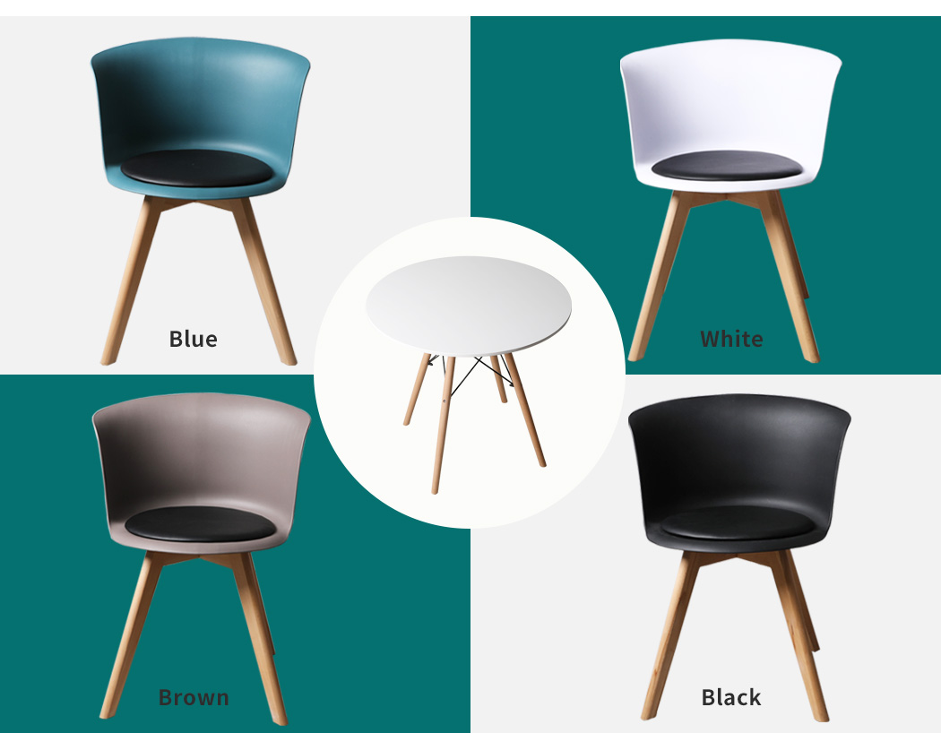 thumbnail 73 - Dining Table Chairs Set Round Café Kitchen Office Meeting Wooden Leg Modern Seat