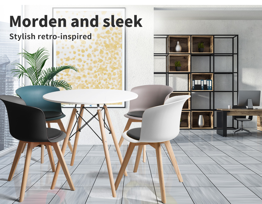 thumbnail 74 - Dining Table Chairs Set Round Café Kitchen Office Meeting Wooden Leg Modern Seat