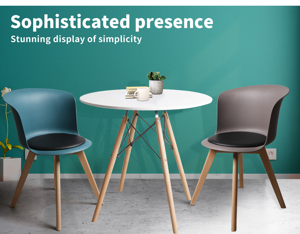 thumbnail 75 - Dining Table Chairs Set Round Café Kitchen Office Meeting Wooden Leg Modern Seat