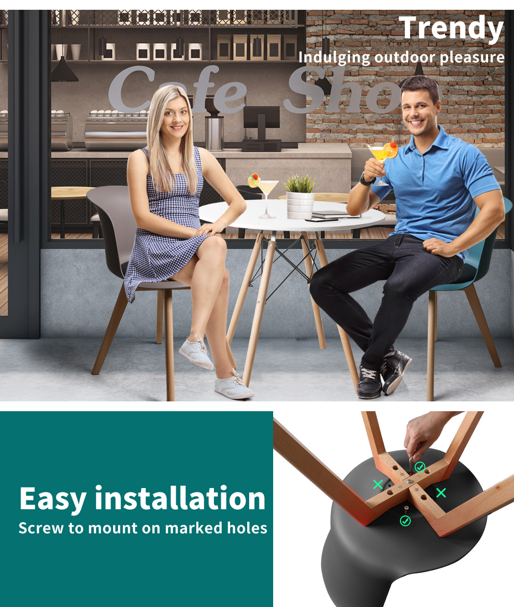 thumbnail 81 - Dining Table Chairs Set Round Café Kitchen Office Meeting Wooden Leg Modern Seat