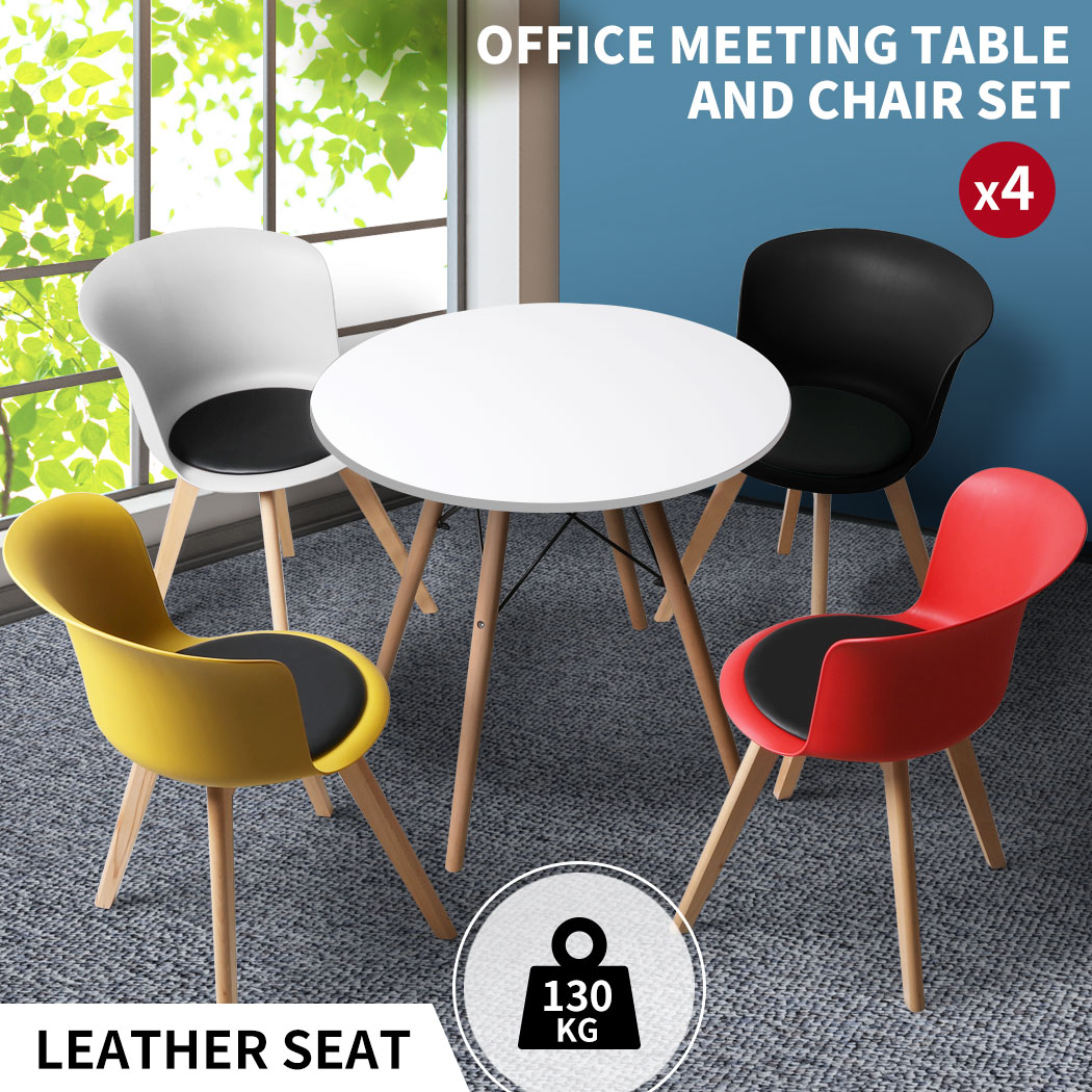 thumbnail 95 - Dining Table Chairs Set Round Café Kitchen Office Meeting Wooden Leg Modern Seat