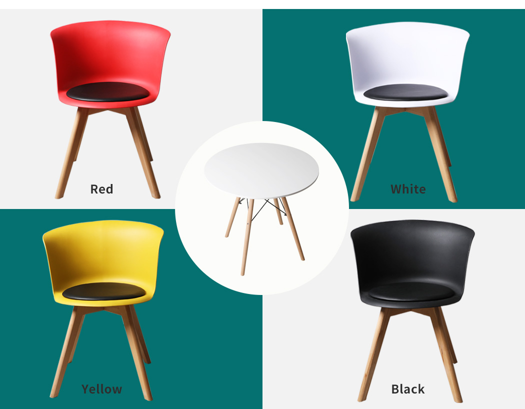 thumbnail 85 - Dining Table Chairs Set Round Café Kitchen Office Meeting Wooden Leg Modern Seat