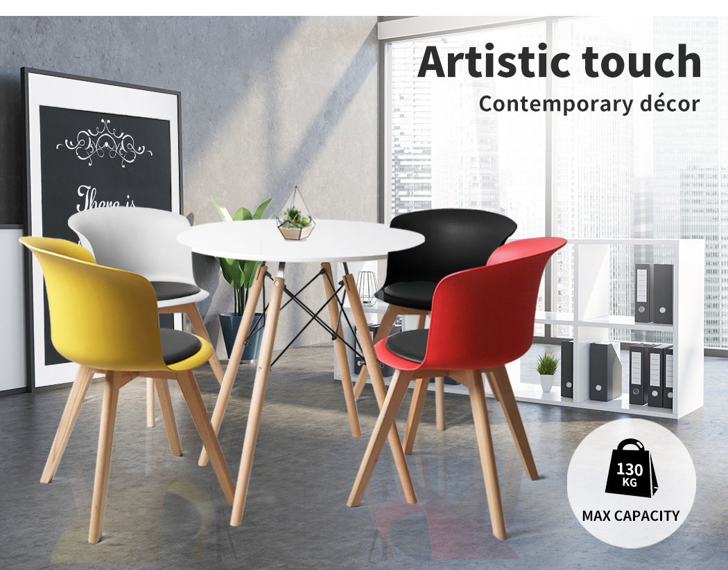 thumbnail 91 - Dining Table Chairs Set Round Café Kitchen Office Meeting Wooden Leg Modern Seat