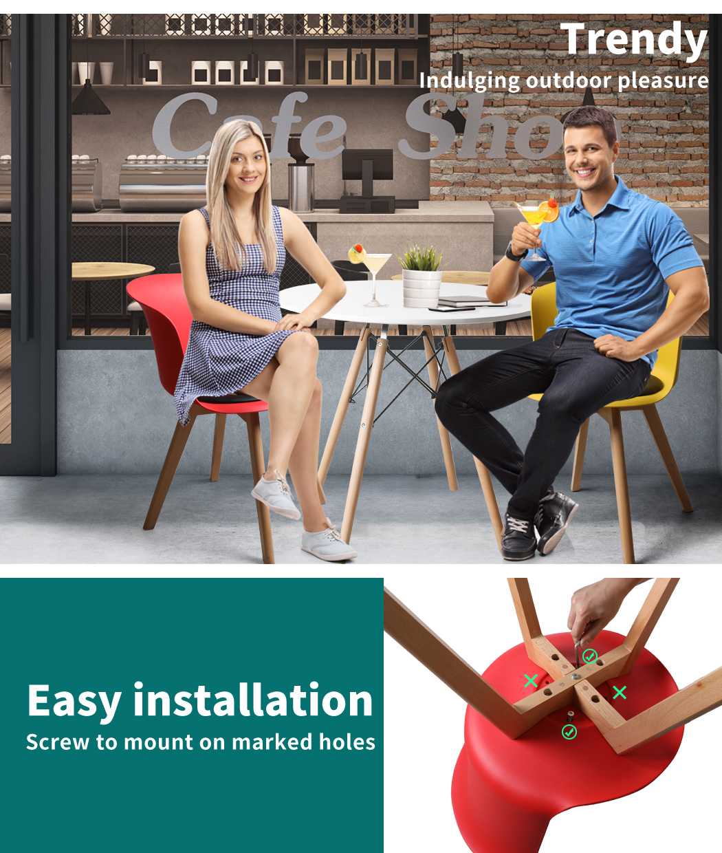 thumbnail 93 - Dining Table Chairs Set Round Café Kitchen Office Meeting Wooden Leg Modern Seat