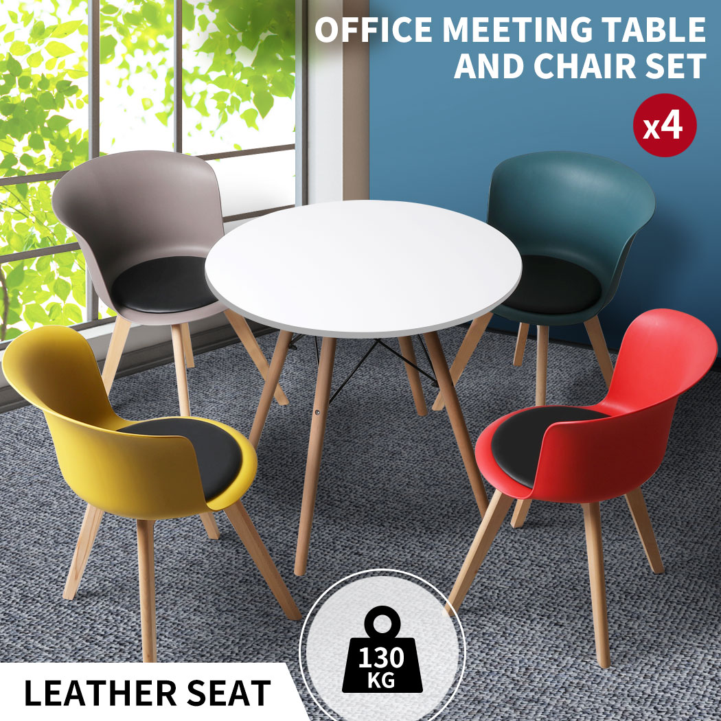 thumbnail 71 - Dining Table Chairs Set Round Café Kitchen Office Meeting Wooden Leg Modern Seat