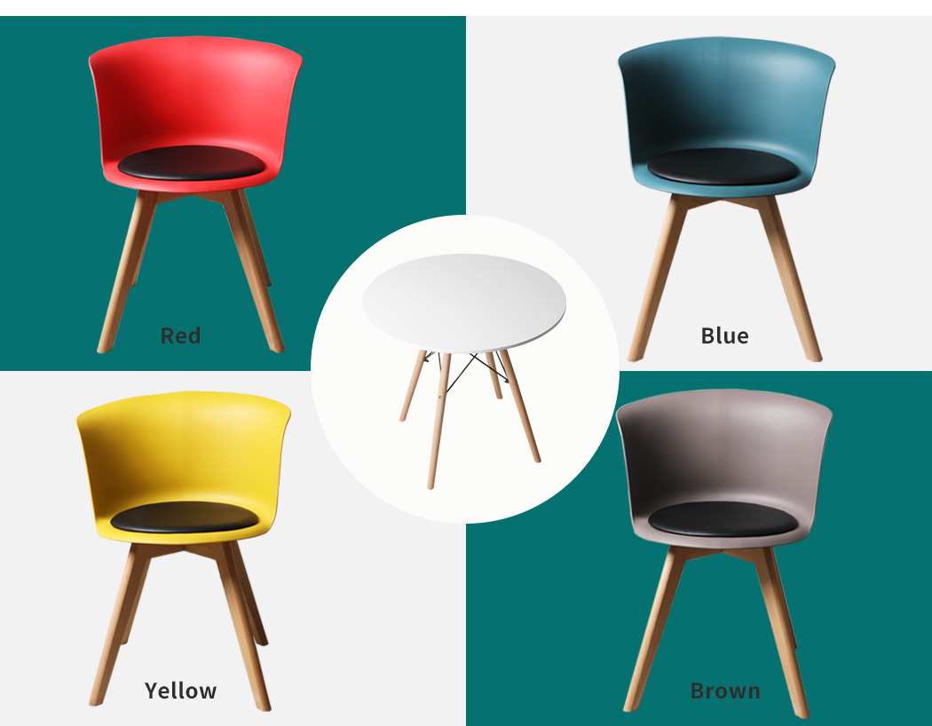 thumbnail 61 - Dining Table Chairs Set Round Café Kitchen Office Meeting Wooden Leg Modern Seat