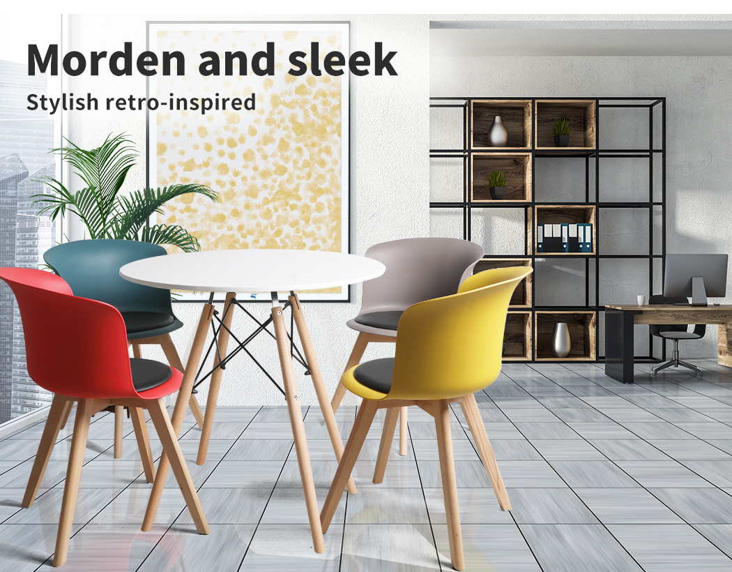 thumbnail 62 - Dining Table Chairs Set Round Café Kitchen Office Meeting Wooden Leg Modern Seat