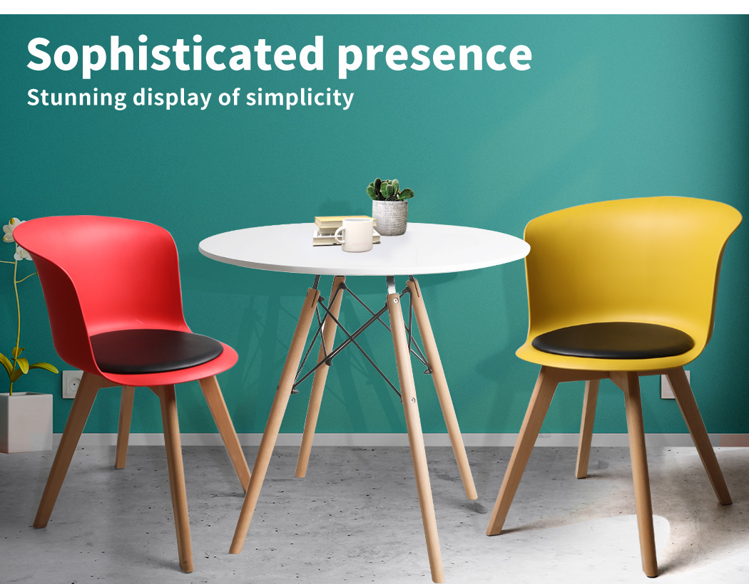 thumbnail 63 - Dining Table Chairs Set Round Café Kitchen Office Meeting Wooden Leg Modern Seat