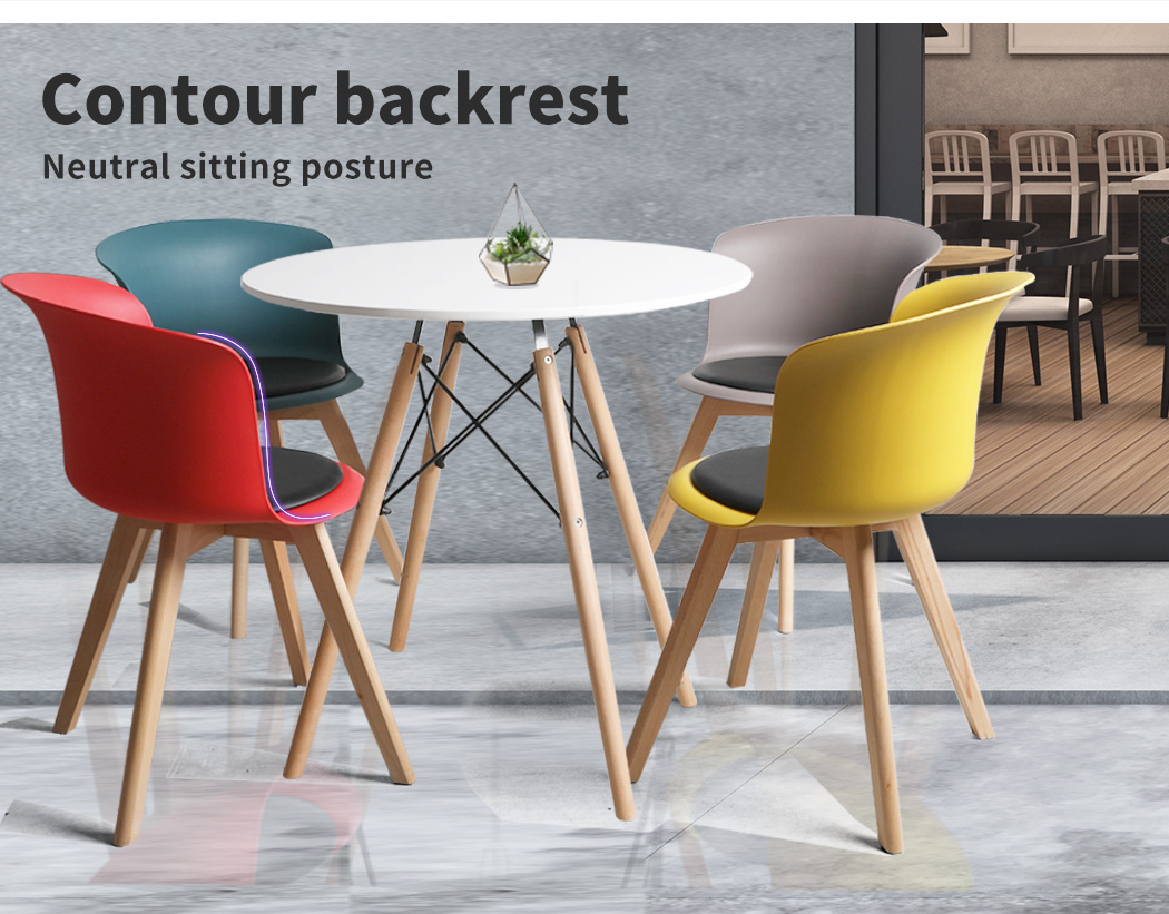 thumbnail 65 - Dining Table Chairs Set Round Café Kitchen Office Meeting Wooden Leg Modern Seat