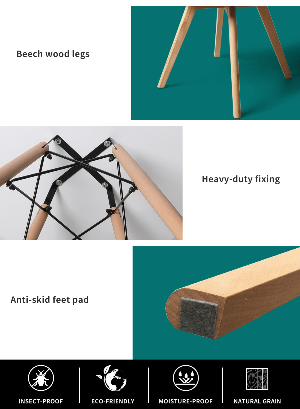 thumbnail 66 - Dining Table Chairs Set Round Café Kitchen Office Meeting Wooden Leg Modern Seat