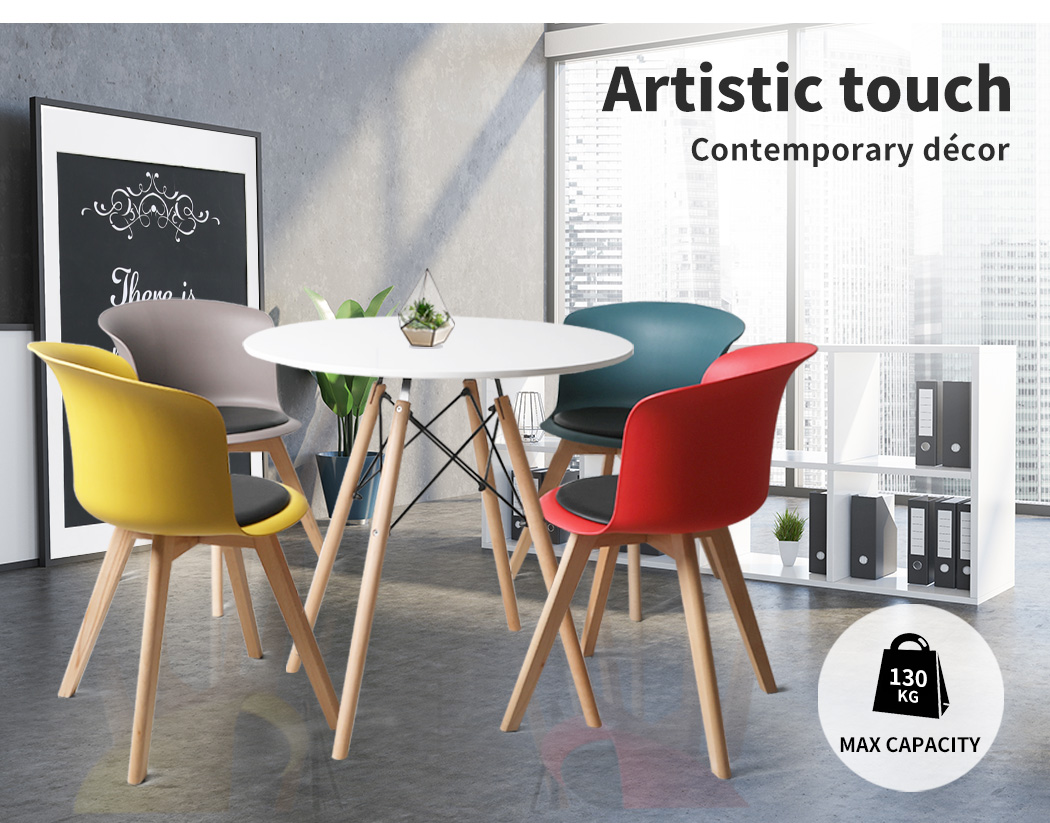 thumbnail 67 - Dining Table Chairs Set Round Café Kitchen Office Meeting Wooden Leg Modern Seat