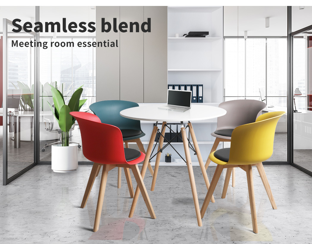 thumbnail 68 - Dining Table Chairs Set Round Café Kitchen Office Meeting Wooden Leg Modern Seat