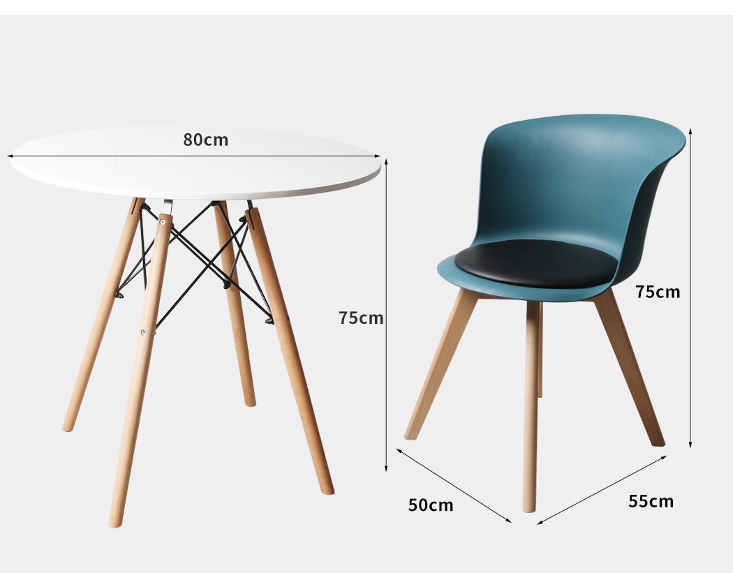 thumbnail 70 - Dining Table Chairs Set Round Café Kitchen Office Meeting Wooden Leg Modern Seat