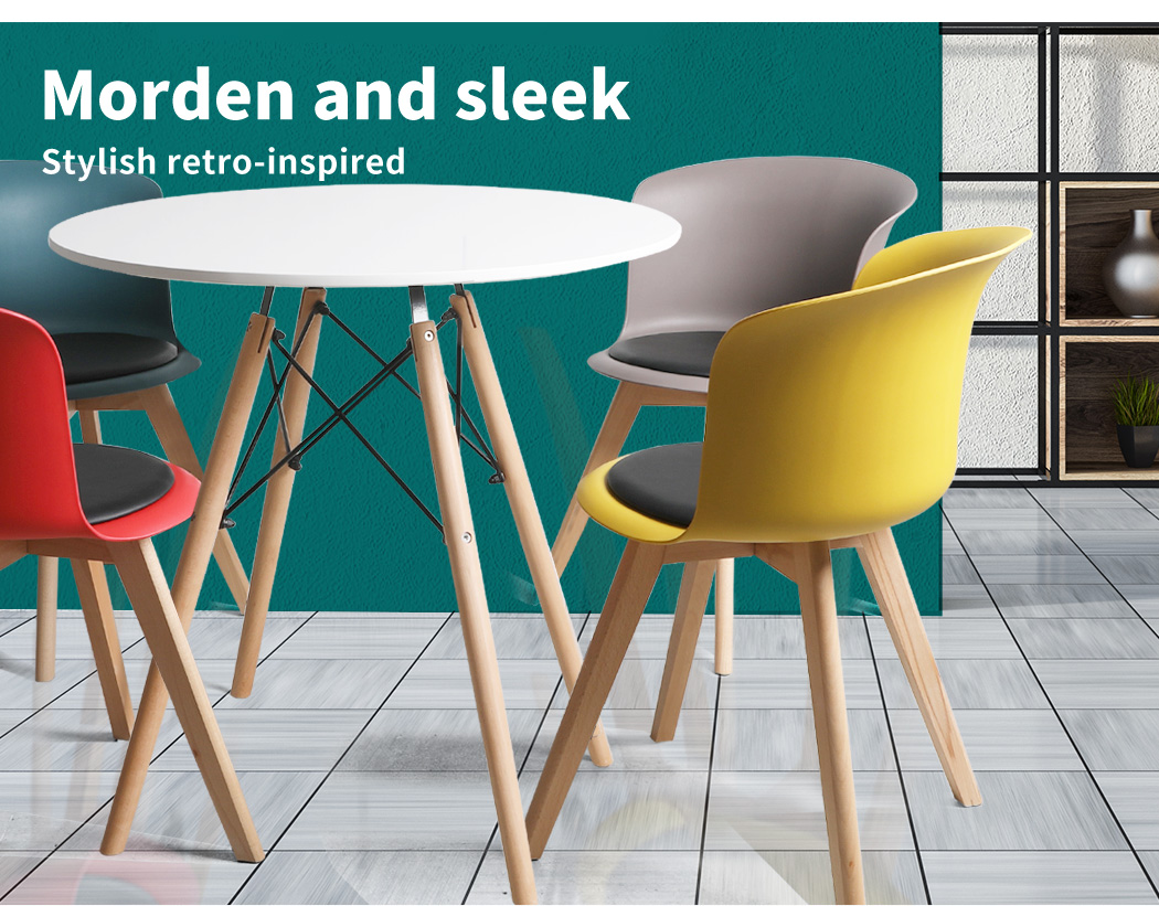 thumbnail 50 - Dining Table Chairs Set Round Café Kitchen Office Meeting Wooden Leg Modern Seat