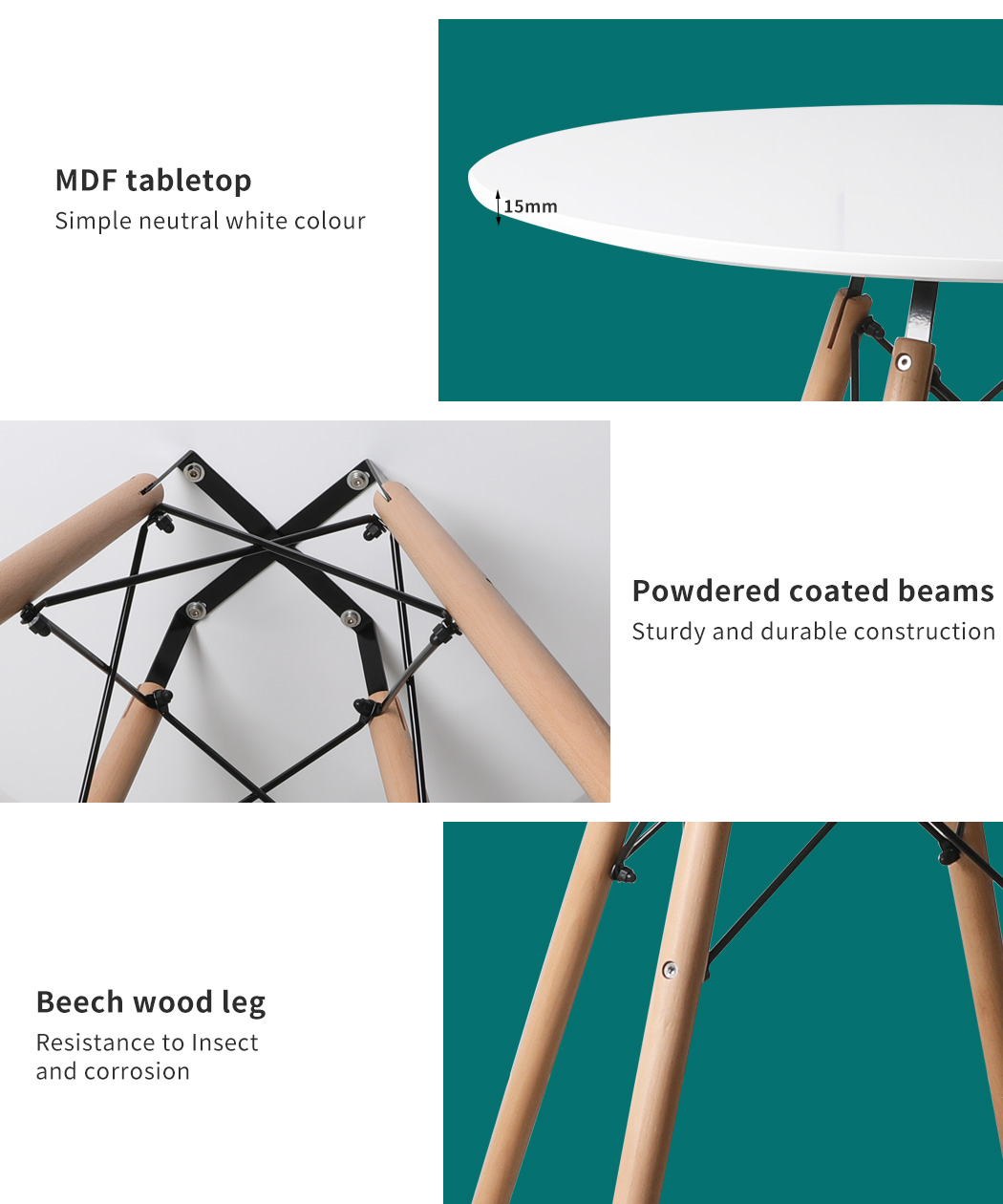 thumbnail 54 - Dining Table Chairs Set Round Café Kitchen Office Meeting Wooden Leg Modern Seat