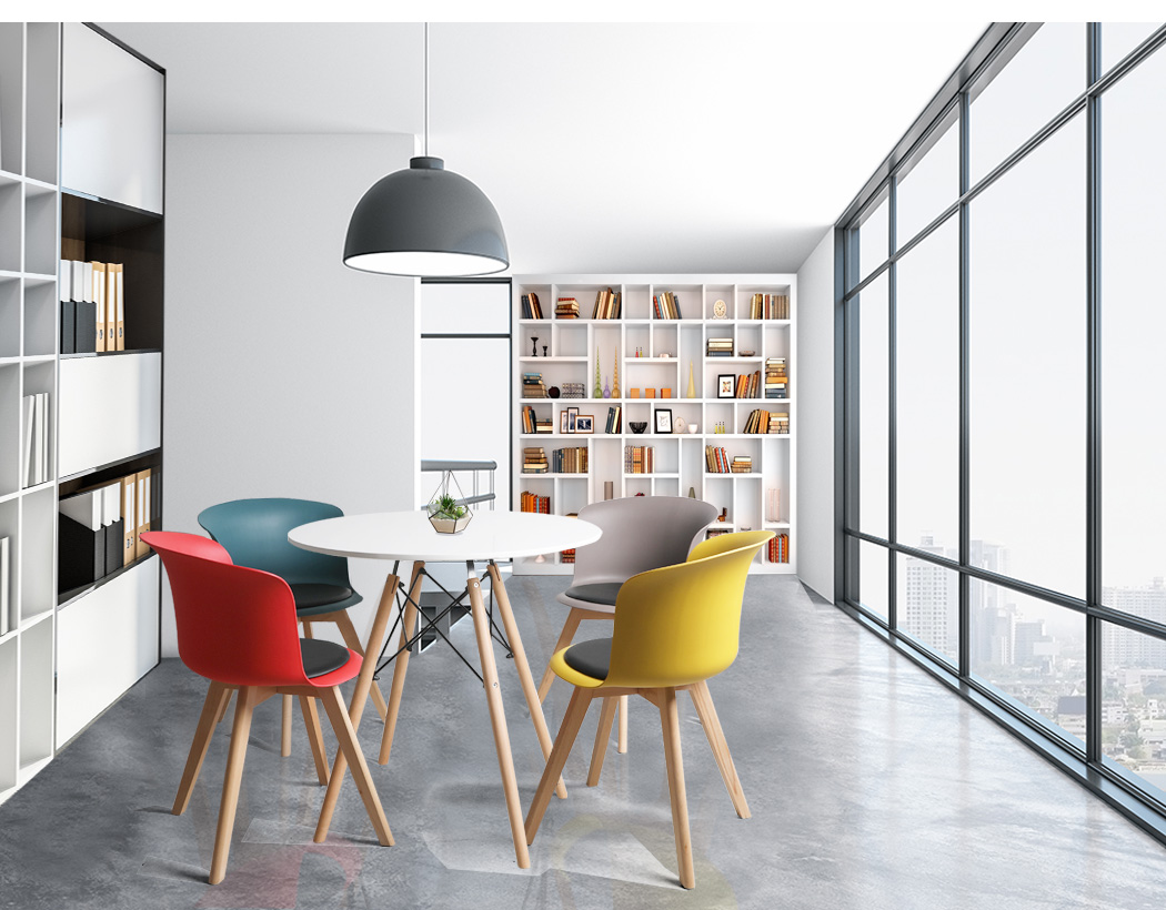 thumbnail 58 - Dining Table Chairs Set Round Café Kitchen Office Meeting Wooden Leg Modern Seat