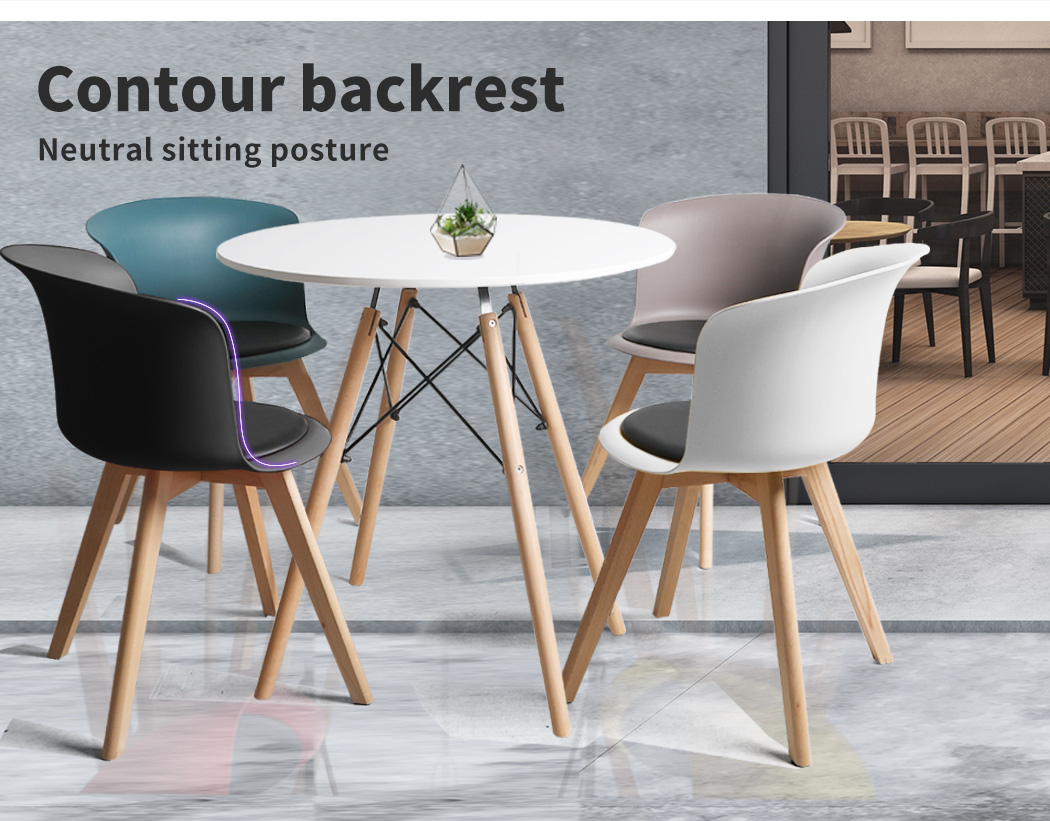 thumbnail 30 - Dining Table Chairs Set Round Café Kitchen Office Meeting Wooden Leg Modern Seat
