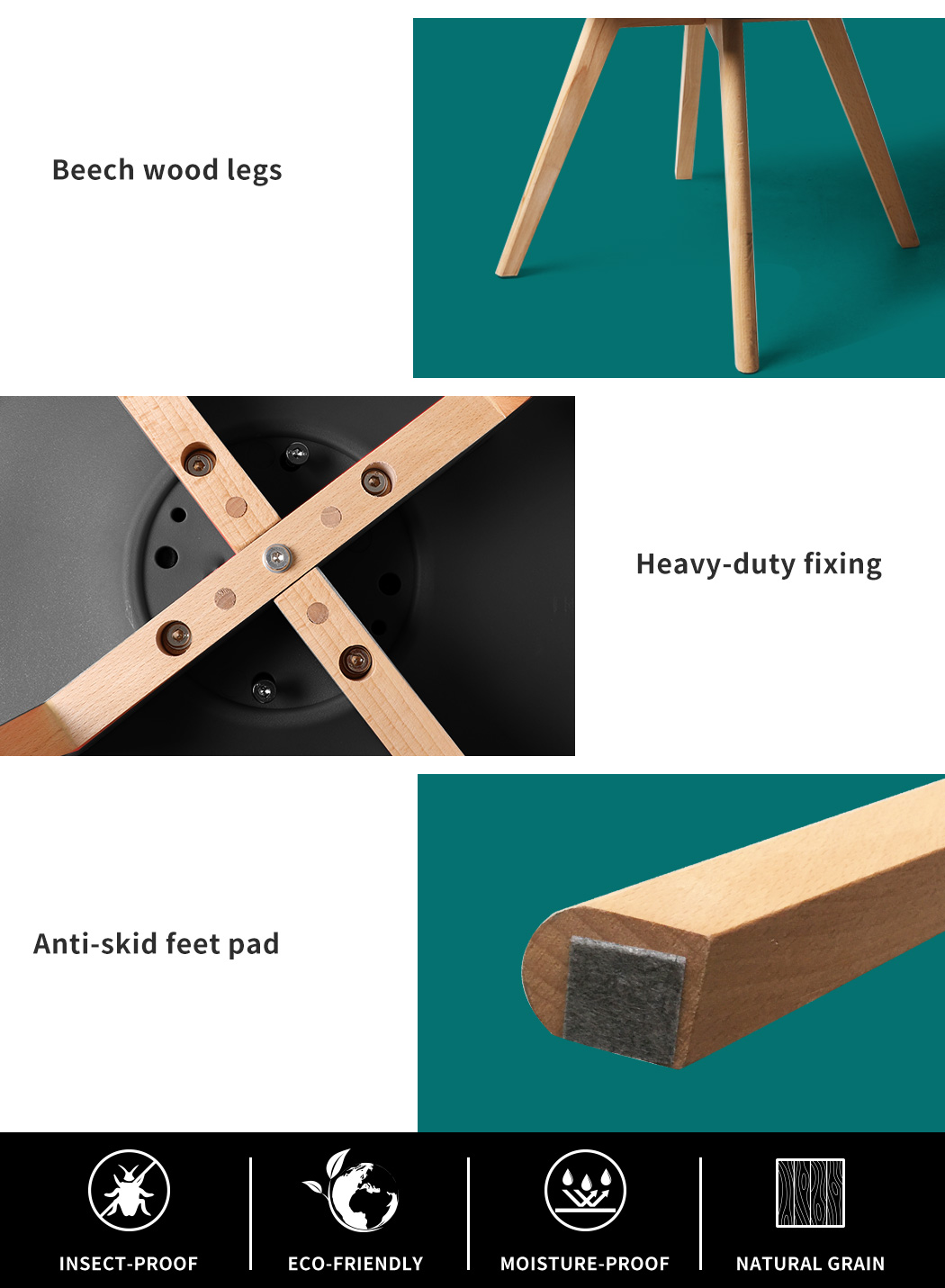 thumbnail 31 - Dining Table Chairs Set Round Café Kitchen Office Meeting Wooden Leg Modern Seat