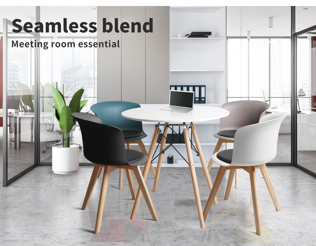 thumbnail 33 - Dining Table Chairs Set Round Café Kitchen Office Meeting Wooden Leg Modern Seat