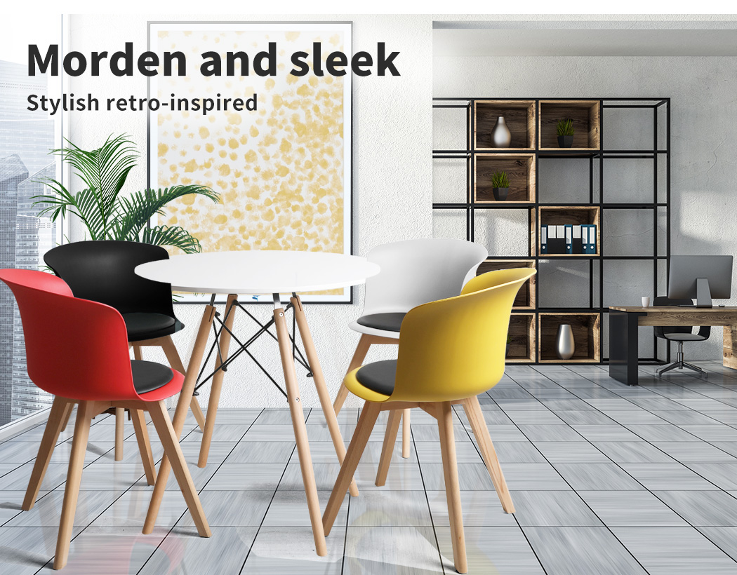 thumbnail 39 - Dining Table Chairs Set Round Café Kitchen Office Meeting Wooden Leg Modern Seat