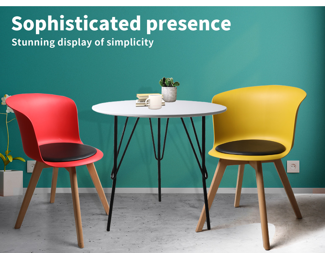 thumbnail 40 - Dining Table Chairs Set Round Café Kitchen Office Meeting Wooden Leg Modern Seat