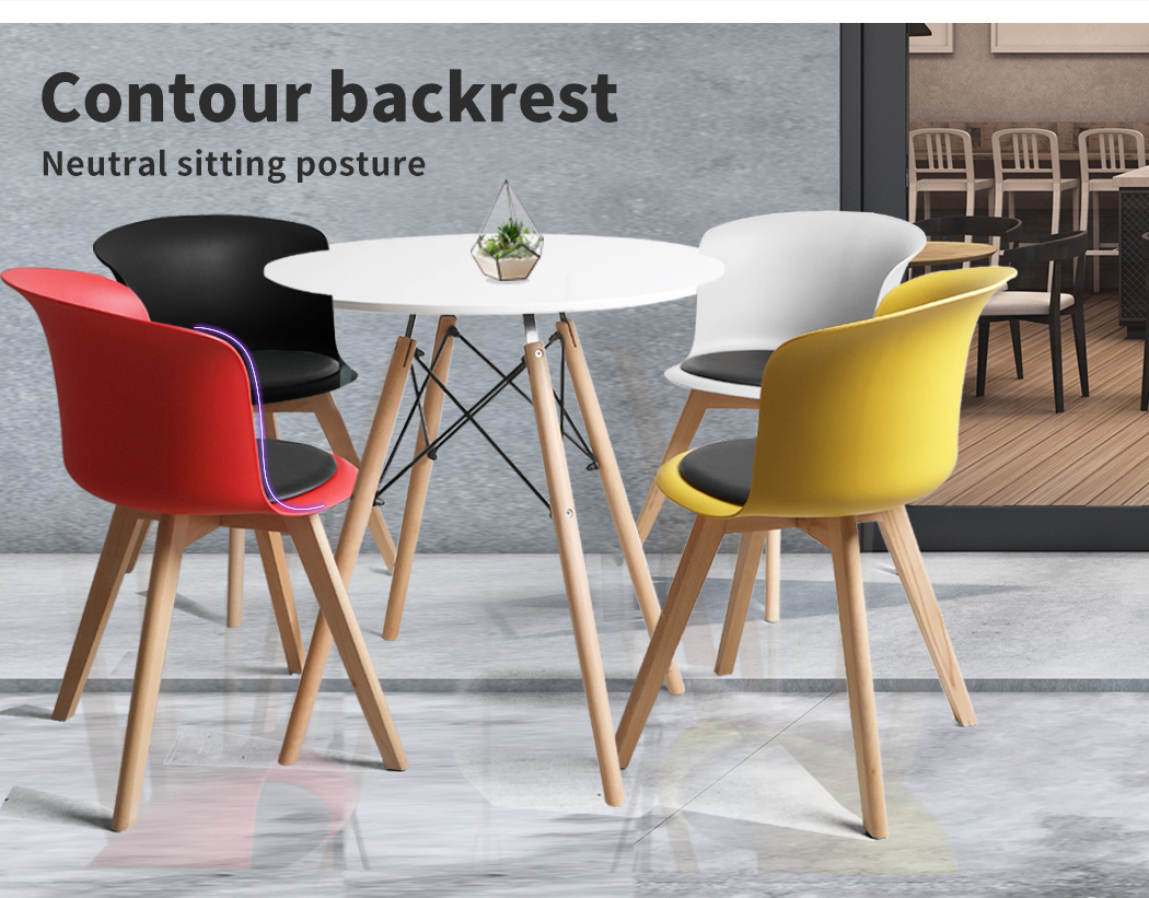 thumbnail 42 - Dining Table Chairs Set Round Café Kitchen Office Meeting Wooden Leg Modern Seat