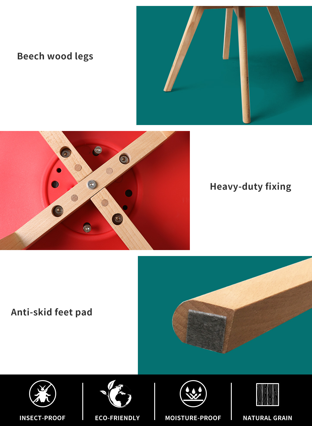 thumbnail 43 - Dining Table Chairs Set Round Café Kitchen Office Meeting Wooden Leg Modern Seat