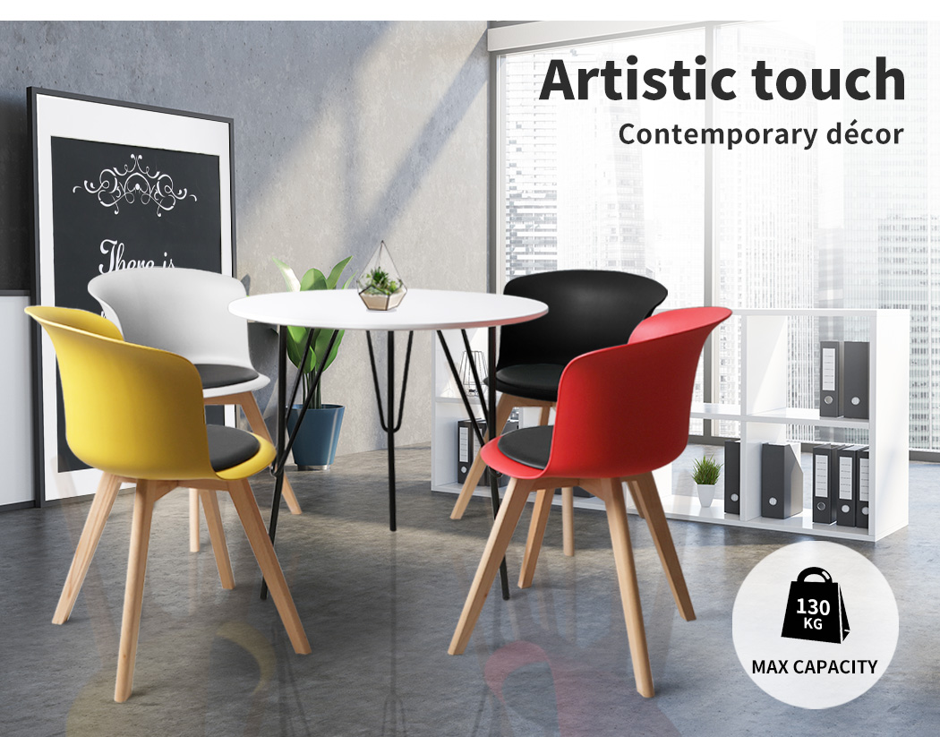 thumbnail 44 - Dining Table Chairs Set Round Café Kitchen Office Meeting Wooden Leg Modern Seat