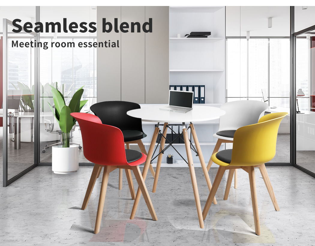 thumbnail 45 - Dining Table Chairs Set Round Café Kitchen Office Meeting Wooden Leg Modern Seat