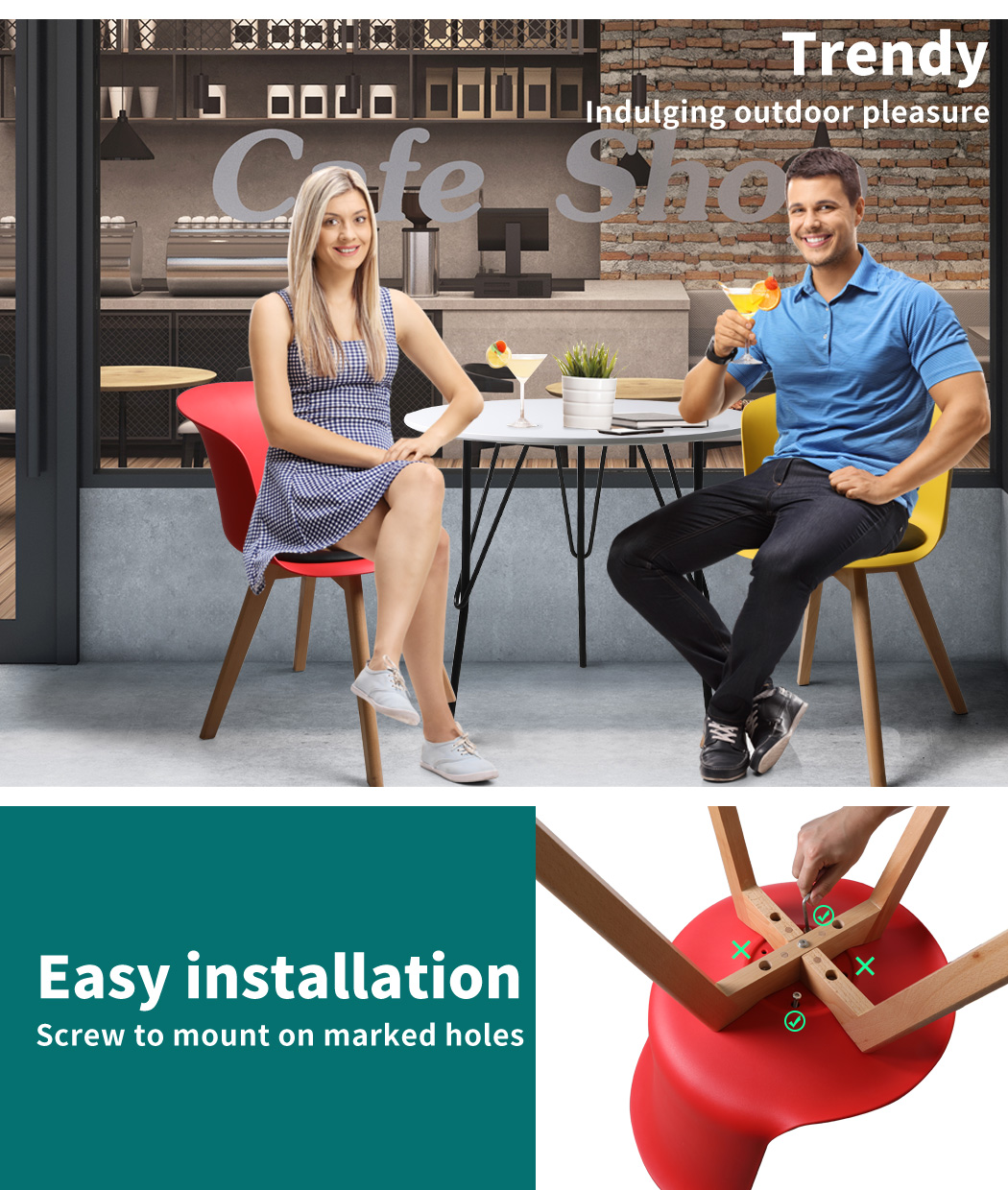 thumbnail 46 - Dining Table Chairs Set Round Café Kitchen Office Meeting Wooden Leg Modern Seat