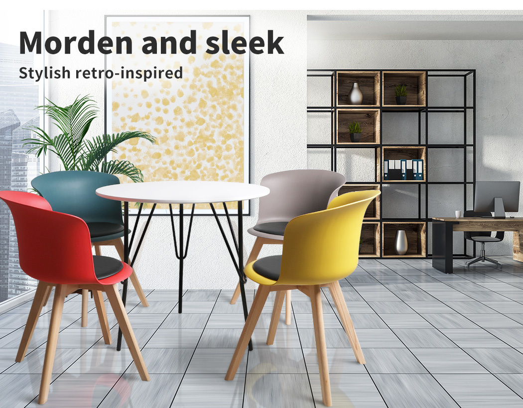 thumbnail 15 - Dining Table Chairs Set Round Café Kitchen Office Meeting Wooden Leg Modern Seat
